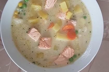 Schnelle Gemüsesuppe mit Kokosmilch und Lachswürfeln 12