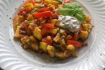 Paprika - Zucchinigemüse mit Speck und Schmand 1
