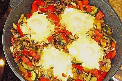 Gemüsepfanne mit Eiern und Käse 13