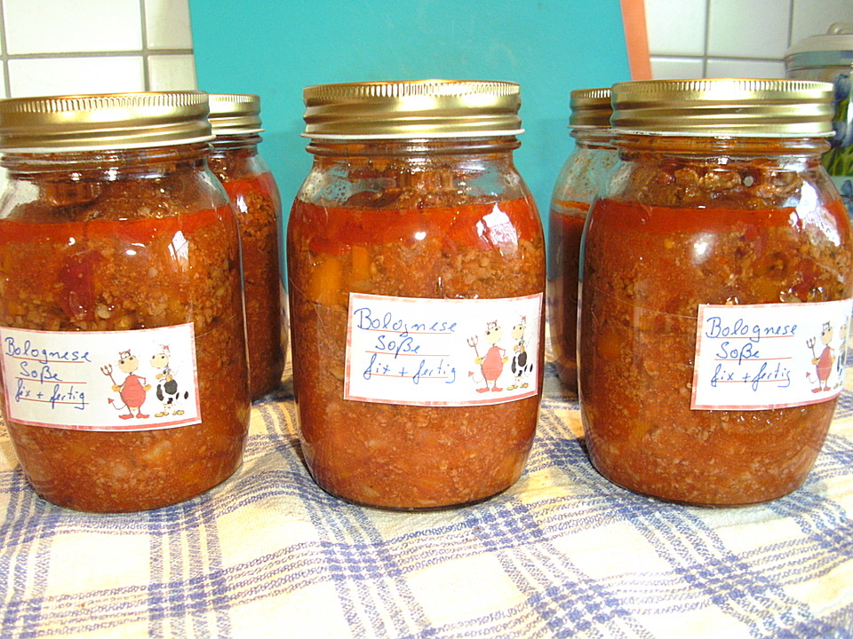Gehacktessoße Eingekocht Oder Bolognese Auf Vorrat Von