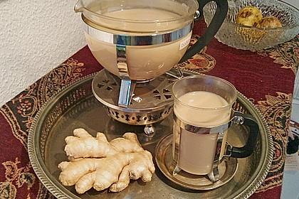Schwarzer Tee mit Ingwer und Milch 1