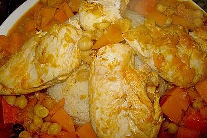 Hähnchen mit Couscous, Süßkartoffeln und Kürbis 7