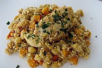 Hähnchen mit Couscous, Süßkartoffeln und Kürbis 1