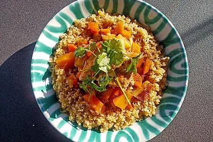 Hähnchen mit Couscous, Süßkartoffeln und Kürbis 3