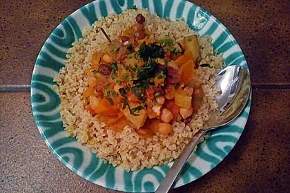 Hähnchen mit Couscous, Süßkartoffeln und Kürbis 5