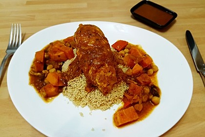 Hähnchen mit Couscous, Süßkartoffeln und Kürbis 2