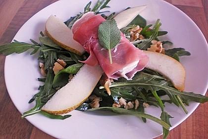 Käse - Saltimbocca auf Rucola und Birnen mit Walnussdressing 6