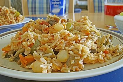 Farbenfrohe Reispfanne