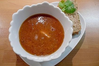 Rote Rüben - Suppe mit Leberwurst