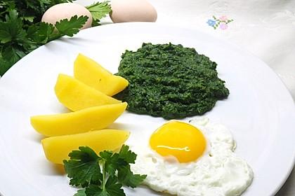 Spinat, Spiegelei und Salzkartoffeln 2