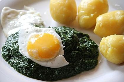 Spinat, Spiegelei und Salzkartoffeln 6