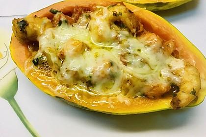 Gefüllte Papaya mit Scampi (Bild)