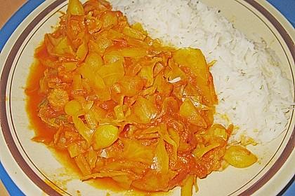 Kurkuma - Tomatensauce mit Kohl 2