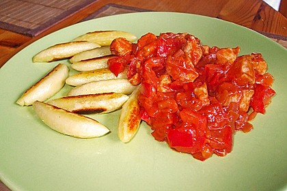 Schupfnudeln mit Paprika - Hähnchensoße 22
