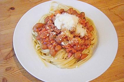 Spaghetti mit Bohnen - Speck - Soße 1