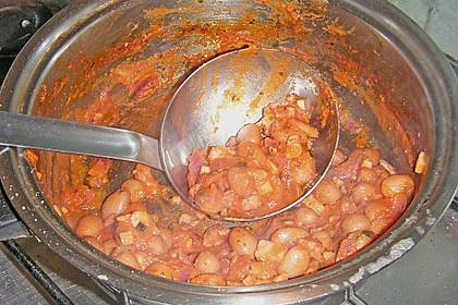 Spaghetti mit Bohnen - Speck - Soße 3