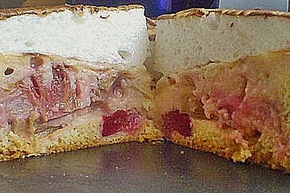 Rhabarberkuchen mit Vanillepudding und Baiser 24