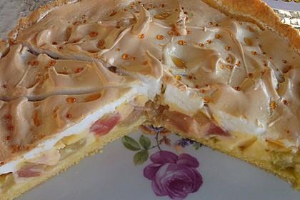 Rhabarberkuchen mit Vanillepudding und Baiser 1