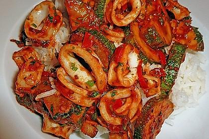 Calamari mit Koriander und Ingwer