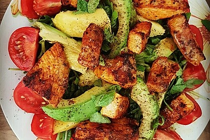 Mango-Avocado-Salat mit Hühnerstreifen, Rucola und Tomaten 8