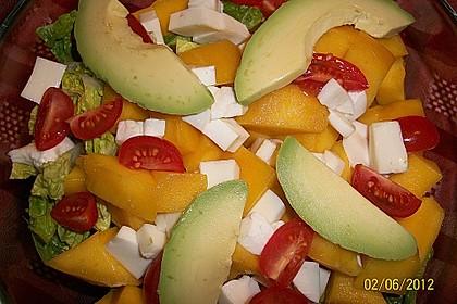 Mango-Avocado-Salat mit Hühnerstreifen, Rucola und Tomaten 53