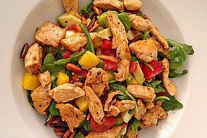 Mango-Avocado-Salat mit Hühnerstreifen, Rucola und Tomaten 15