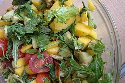 Mango-Avocado-Salat mit Hühnerstreifen, Rucola und Tomaten 26