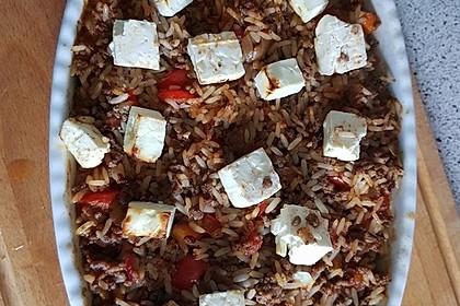 Mediterraner Auflauf mit Hackfleisch, Reis und Schafskäse 4