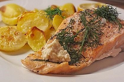 Würzlachs mit Meerrettich-Kartoffelgratin 1