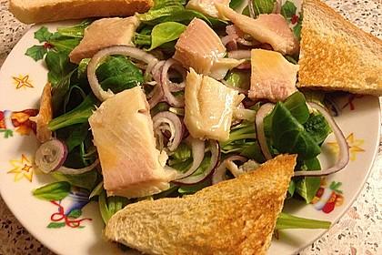 Feldsalat mit Räucherforelle oder anderem Räucherfisch 7