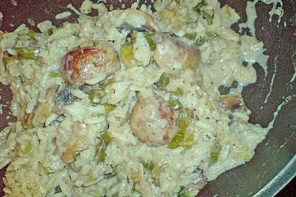 Reispfanne mit Champignons und grober Bratwurst 5