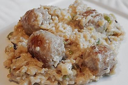Reispfanne mit Champignons und grober Bratwurst 2