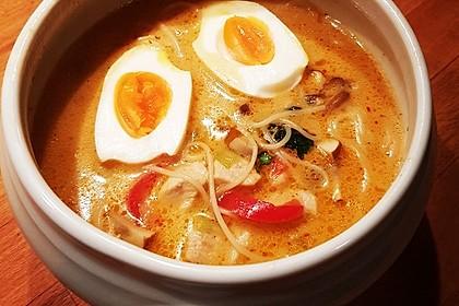 Pikante Thai Suppe mit Kokos und Hühnchen 20