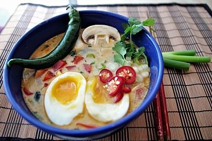 Pikante Thai Suppe mit Kokos und Hühnchen 34