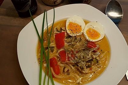Pikante Thai Suppe mit Kokos und Hühnchen 14