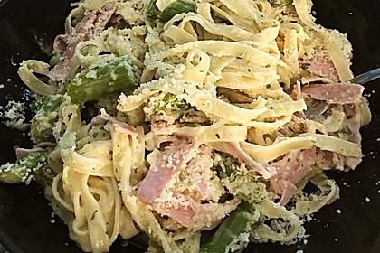 Spargel mit Schinken und Pasta 6