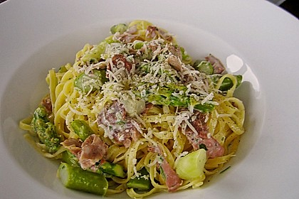 Spargel mit Schinken und Pasta 3