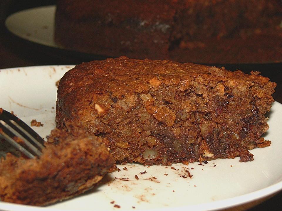 Mandel Walnuss Kuchen Mit Schokolade Und Marzipan Von Kalide