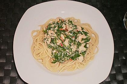 Nudeln mit scharfer Rucola - Shrimps - Soße 2