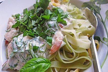 Nudeln mit scharfer Rucola - Shrimps - Soße 1