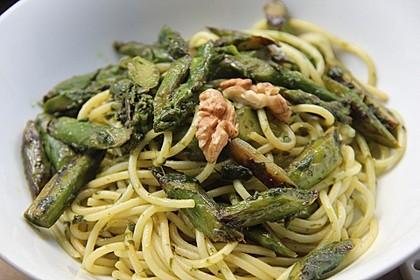 Spaghetti mit gebratenem Spargel und Bärlauchpesto 12
