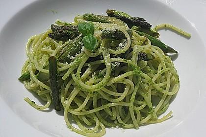 Spaghetti mit gebratenem Spargel und Bärlauchpesto 8