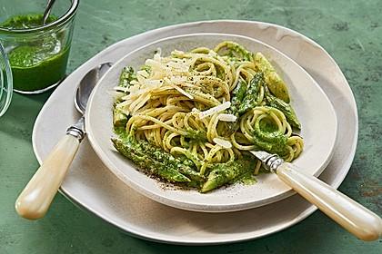 Spaghetti mit gebratenem Spargel und Bärlauchpesto 2