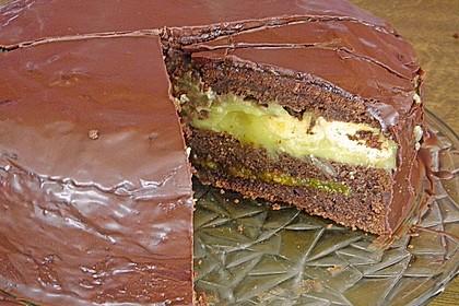 Mandel - Schoko - Torte mit Orangenpudding