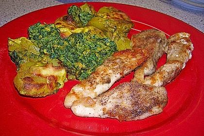 Hühnerbrustfilet mit Curry - Blattspinat - Kartoffeln (Bild)