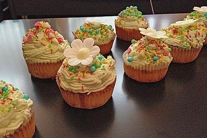 Zitronen - Cupcakes mit Waldmeister - Frischkäse - Creme 25