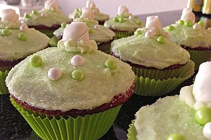 Zitronen - Cupcakes mit Waldmeister - Frischkäse - Creme 21