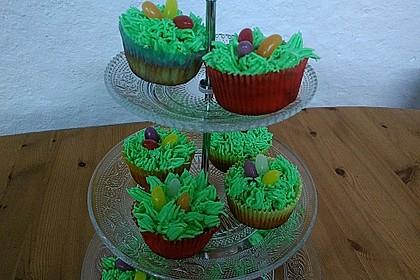 Zitronen - Cupcakes mit Waldmeister - Frischkäse - Creme (Bild)