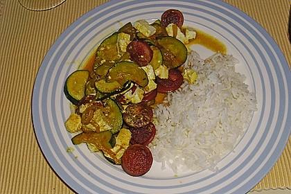 Griechische Zucchinipfanne mit  Bratwurst 10