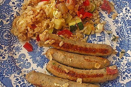Griechische Zucchinipfanne mit  Bratwurst 14